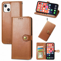 Solid Colour Folio PU Leather Case with Card Slot for iPhone 13 - Brown