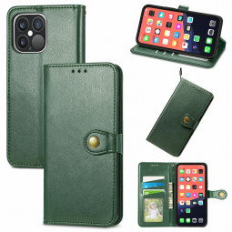 Solid Colour Folio PU Leather Case with Card Slot for iPhone 13 Pro Max - Green
