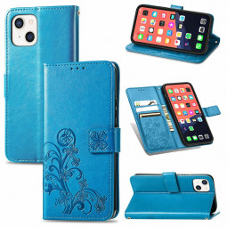 PU Leather Case Four Leaf Clover Pattern with Card Slot for iPhone 13 Mini - Blue