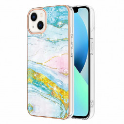 TPU Slim Phone Case Electroplated Frame Marble Pattern for iPhone 13 - Blue