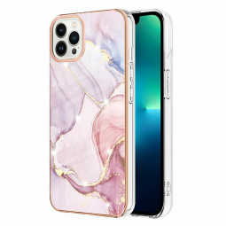 TPU Slim Phone Case Electroplated Frame Marble Pattern for iPhone 13 Pro - Pink