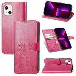 Lucky Four-leaf Clover Pattern PU Leather Case for iPhone 13 - Hot Pink