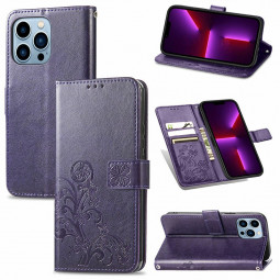 Lucky Four-leaf Clover Pattern PU Leather Case for iPhone 13 Pro - Purple