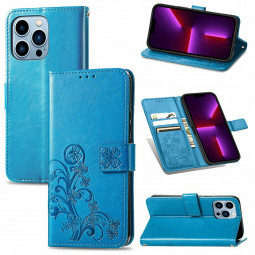 Lucky Four-leaf Clover Pattern PU Leather Case for iPhone 13 Pro Max - Blue