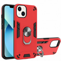 Armor Heavy Duty Dual Layer Ring Shockproof Hard Protective Case for iPhone 13 Mini - Red