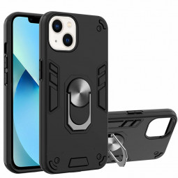 Armor Heavy Duty Dual Layer Ring Shockproof Hard Protective Case for iPhone 13 - Black