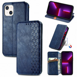 Geometric Pattern Magnetic PU Leather Wallet Card Case Cover for iPhone 13 Mini - Blue