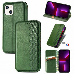 Geometric Pattern Magnetic PU Leather Wallet Card Case Cover for iPhone 13 - Green