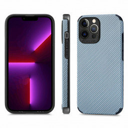 Protective Case Fibre Pattern Phone Back Cover for iPhone 13 Pro - Blue