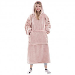 Wearable Cozy Sweatshirt Blanket Super Warm and Oversized Blanket with Sleeves and Giant Pocket for Women - Pink