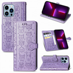 PU Leather Dogs and Cats Cute Wallet Card Phone Cover for iPhone 13 Pro - Purple