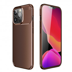 Fibre Pattern PC Combination Protective Back Case for iPhone 13 Pro Max - Brown