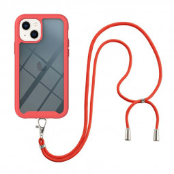 360 Full Body Slim Protective Case with Front Frame and Lanyard for iPhone 13 Mini - Red