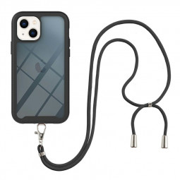 360 Full Body Slim Protective Case with Front Frame and Lanyard for iPhone 13 - Black