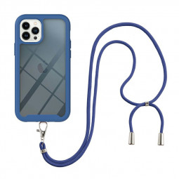 360 Full Body Slim Protective Case with Front Frame and Lanyard for iPhone 13 Pro - Blue