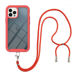 360 Full Body Slim Protective Case with Front Frame and Lanyard for iPhone 13 Pro Max - Red
