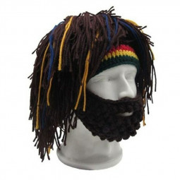 Crochet Woolen Wig Cap Mask Hat Mask Warm Character Play Hat Cap with Whiskers