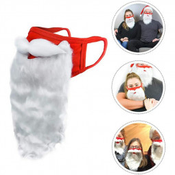 Encased Holiday Santa Beard Face Mask Costume for Adults for One Size fits All