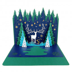 3D Paper Pop-Up Treasures Greeting Card Gift Cards Xmas Invitation Card - Cozy Christmas