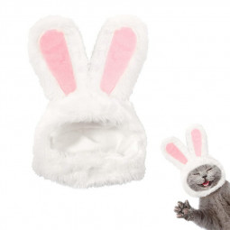 Cute Costume Bunny Rabbit Hat with Ears for Cats and Small Dogs Party Costume Easter Pet Accessory Headwear