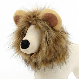 Pet Costume Brown Lion Mane Hood for Dog and Cat for Halloween - L