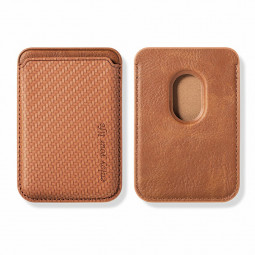 Magnetic PU Leather Magsafe Card Holder Slot for iPhone 12/13 Mini/Pro/Pro Max - Brown