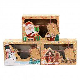 12 pcs Cookie Boxes with Window Kraft Paper Brown Christmas Gift Box for Pastries Cookies Pie Donuts Macaroon