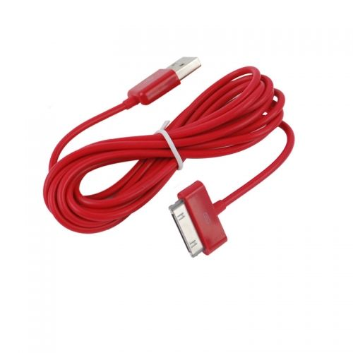 3M Length Connector to USB Power & Data Cable for Apple iPhone 4--Red