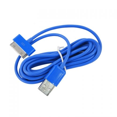 3M Length Connector to USB Power & Data Cable for Apple iPhone 4--Blue