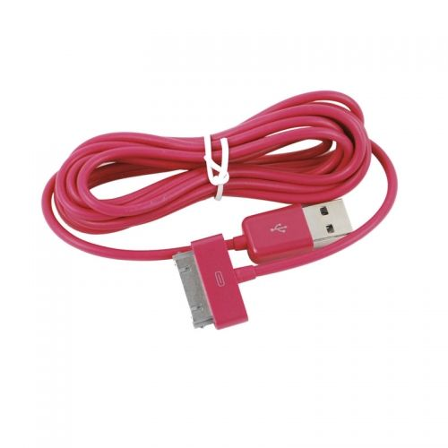 3M Length Connector to USB Power & Data Cable for Apple iPhone 4--Rose Red