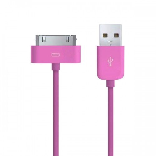 2M Connector to USB Data Sync Power Charger & Data Cable for Apple iPhone 4 iPod-Rose red