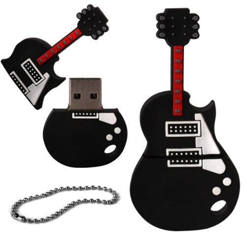 8 GB Novelty XYLO-FLASH Guitar Keyring USB 2.0 Memory Stick / Pen Storage Drive Compatible With PC / Mac