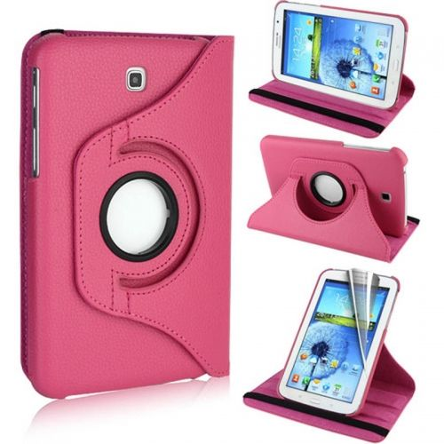 360 Rotation Case Cover for Samsung P3200--Rose Red