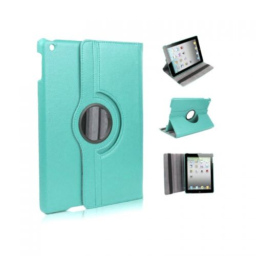 Pure Color Two Fold Stand Case Cover for iPad 5(Air)---Light Blue