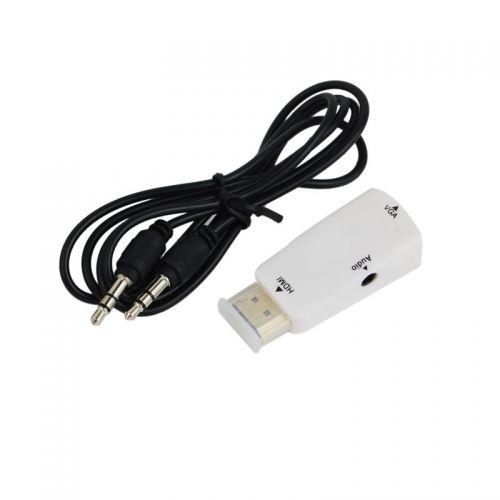 HDMI TO VGA+Audio Male Adapter--White