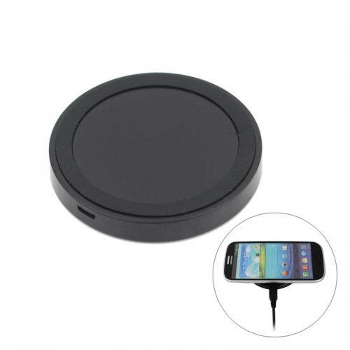 QI Round Wireless Charging Pad Transmitter for QI Standard Mobile Phones- Black