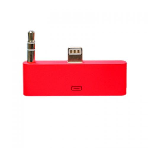 30 pin to 8 pin AUDIO Adapter Converter for Dock Station iPhone 5 iPod Touch- Red