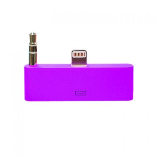 30 pin to 8 pin AUDIO Adapter Converter for Dock Station iPhone 5 iPod Touch- Purple