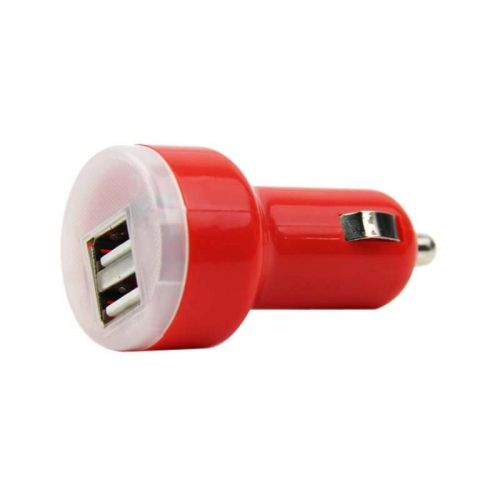 Dual USB Ports Nipple Car Charger- Red