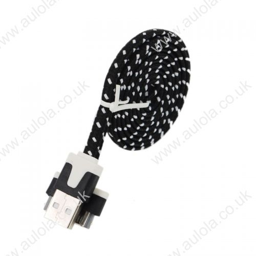 1M Knitted USB 2.0 to Charge&Data Cable for Iphone 4G/4S- Black