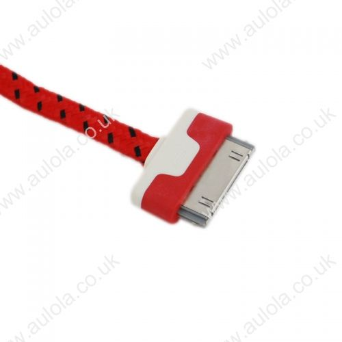 1M Knitted USB 2.0 to Charge&Data Cable for Iphone 4G/4S- Red