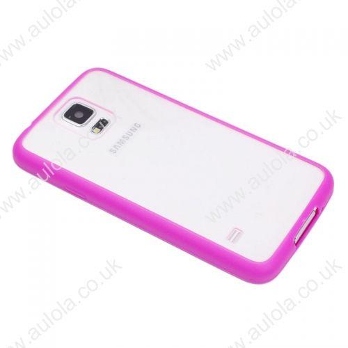 Transparent Back Gel Case Cover for Samsung S5- Rose Red