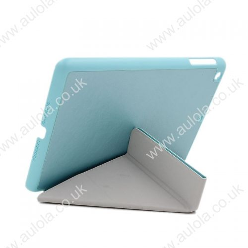Silk Pattern Multi-Stand Cover Case for iPad Mini- Light Blue