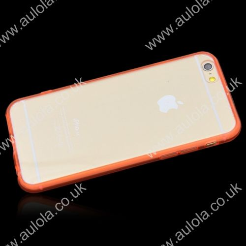 Transparent PC Back + TPU Border Case Cover for 4.7 Inch iPhone 6- Red