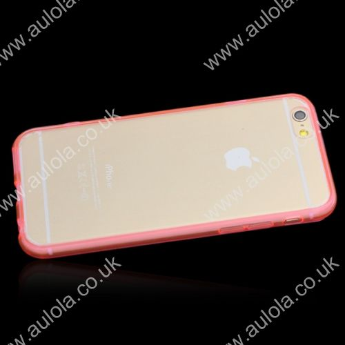 Transparent PC Back + TPU Border Case Cover for 4.7 Inch iPhone 6- Pink