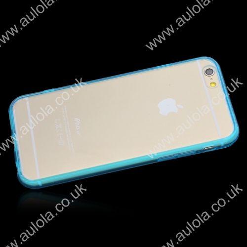 Transparent PC Back + TPU Border Case Cover for 4.7 Inch iPhone 6- Aqua