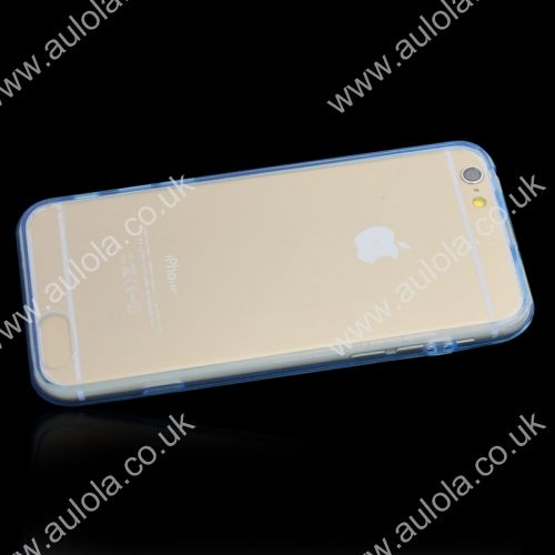 Transparent PC Back + TPU Border Case Cover for 5.5 Inch iPhone 6 Plus- Light Blue