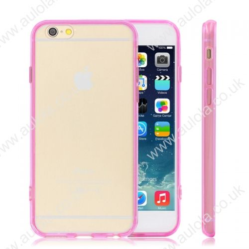 Transparent PC Back + TPU Border Case Cover for 5.5 Inch iPhone 6 Plus- Rose Red