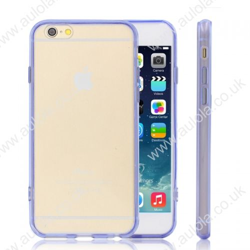 Transparent PC Back + TPU Border Case Cover for 5.5 Inch iPhone 6 Plus- Light Purple