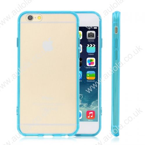 Transparent PC Back + TPU Border Case Cover for 5.5 Inch iPhone 6 Plus- Aqua